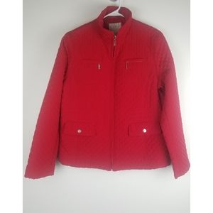 White stag red quilted zipper jacket